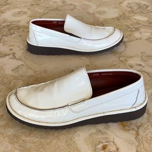 Donald J. Pliner White Patent Leather Loafers